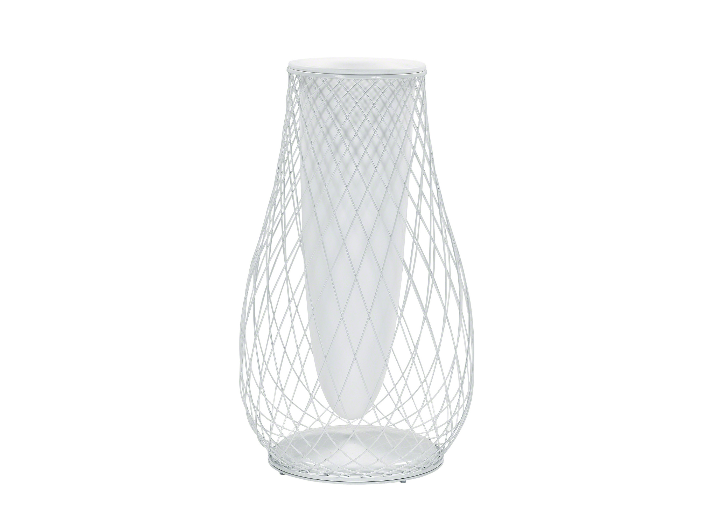 A big outdoor white metal mesh vase by Coalesse